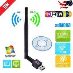 600Mbps USB Wifi Router Wireless Adapter PC Network LAN Card