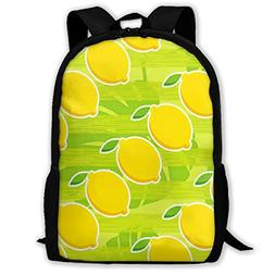 Backpack Lemon Cartoon Zipper School Bookbag Daypack Travel