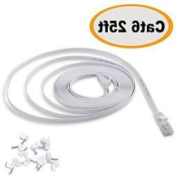 Cat 6 Ethernet Cable 25 ft White Flat - Solid Internet Netwo