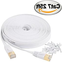 Cat 7 Ethernet Cable 25 ft Shielded - Solid Flat Internet Ne