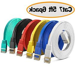 Cat 7 Shielded Ethernet Cable 5 ft 6 Pack  - Jadaol Fastest