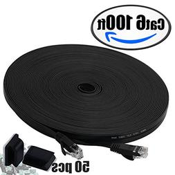 Cat6 Ethernet Cable 100ft Black with 50 pcs Cable Clips,Inte
