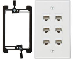 Buyer's Point 6 Port Cat6 Wall Plate, Female-Female White wi