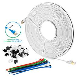Maximm Cat7 Flat Ethernet Cable75 Feet - White, Pure Bare