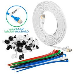Maximm Cat7 Flat Ethernet Cable 20 Feet - White, Pure Copper