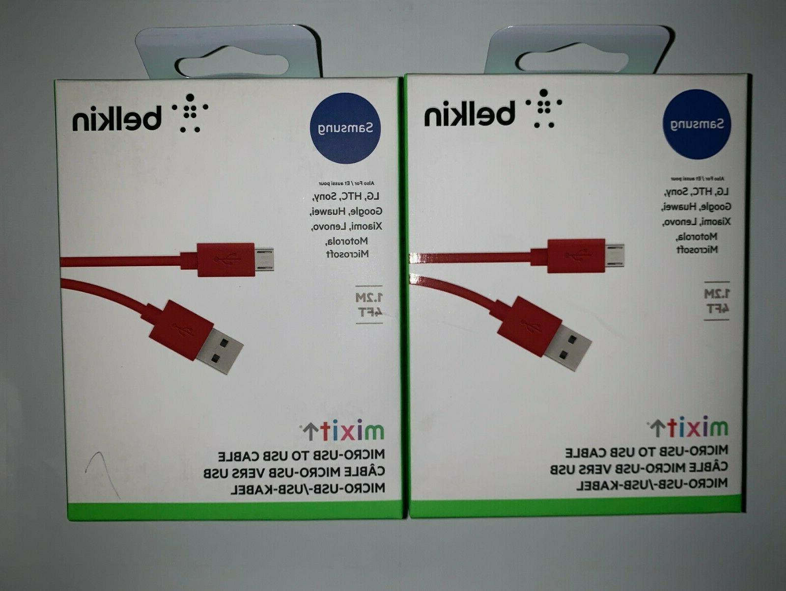 Belkin MIXIT 4' Micro USB Cable, Red F2CU012bt04-RED
