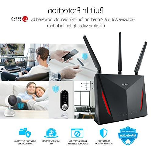 ASUS AC2900 Dual-band Gigabit Wireless 1.8GHz AiProtection Security by Trend AiMesh Whole Compatible