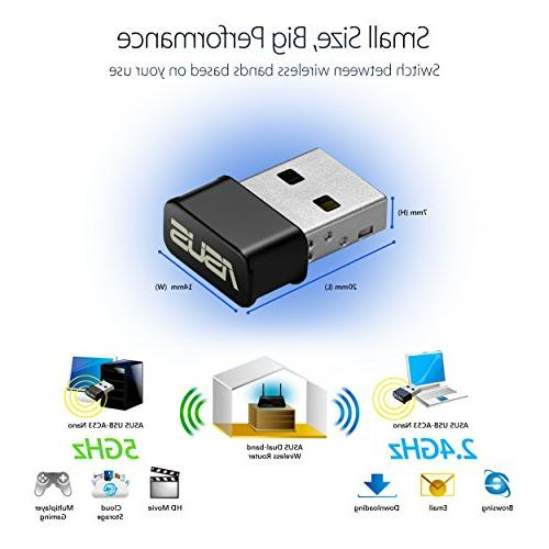ASUS USB-AC53 Nano WiFi Dual-Band AC1200 MU-MIMO Use with XP/Vista/7/8/1/10