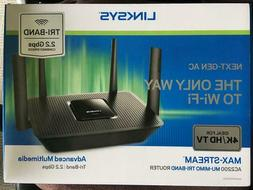 LINKSYS Max-Stream AC2200 MU-MIMO TRI-BAND Router 4k HDTV wi