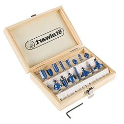 "Router Bit Set- 15 Piece Kit with ¼"" Shank and Wood Stora"
