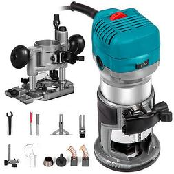 Trimmer Router Kit 710W 1-1/4HP with Plunge&Trimmer Base Acc