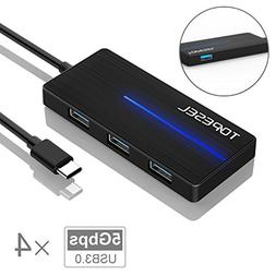 USB C Hub, TOPESEL USB Type-C Adapter with 4 USB 3.0 Ports f
