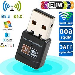USB Wifi Adapter Ac 600Mbps Dual Band 150Mbps+5G 433Mbps USB
