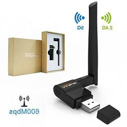 Wifi Adapter AC 600Mbps Wireless Usb Adapter for Desktop / L