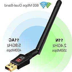 Anmier 600Mbps WiFi Adapter Dual Band 2.4G/5G Wireless Netwo